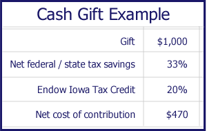 Cash Gift Example